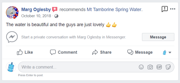 Spring water facebook review 2